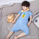 童裝家居服男女寶寶兒童莫代爾柔軟連身睡衣小童夏季空調爬服透氣(聖誕新品)
