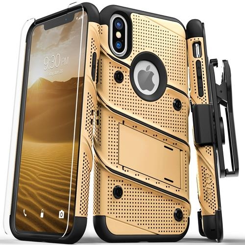 【美國代購】Zizo Bolt系列 iPhone X保護套軍用級跌落測試屏幕保護貼 皮套 金/黑