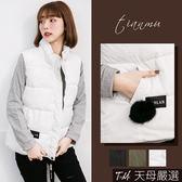 【天母嚴選】立領絨毛球鋪棉拉鍊背心外套(共三色)