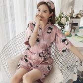 浴袍 日式和服睡衣女夏冰絲短袖韓版清新學生真絲家居服兩件套裝可外穿 俏女孩