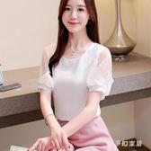 雪紡短袖女2019新款韓版蕾絲打底洋氣網紗蕾絲上衣 QW4176『夢幻家居』