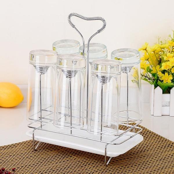 杯架 創意玻璃水杯瀝水架置物架倒掛架家用晾杯架子杯托杯架杯子收納架【快速出貨八折特惠】