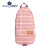 【COLORSMITH】PU・蛋型後背包-粉紅橫條紋・PU1326-PN