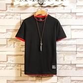 夏季亞麻風 短袖T恤男 休閒 寬鬆 男士 中國風 復古 棉麻風 V領 體恤 男裝潮