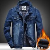 加絨加厚牛仔外套男冬季保暖棉衣棉服加厚夾克長袖修身大碼 卡布奇諾 11-21