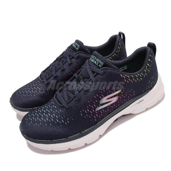 Skechers 健走鞋 Go Walk 6 Vibrant Energy 女鞋 深藍 記憶鞋墊 舒適腳感 休閒鞋 【ACS】 124520-NVMT