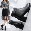方頭粗跟短靴女中跟2020年新款秋冬季加絨馬丁瘦瘦靴ins短筒增高
