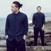 民族風盤扣棉麻襯衫復古襯衣七分袖休閒亞麻襯衫中式男裝上衣唐裝 森雅誠品