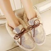 豆豆鞋 平底羊毛絨-可愛蝴蝶結船型保暖真皮女休閒鞋6色72o25[巴黎精品]