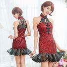 古典黑紅魚尾裙襬旗袍角色扮演服二件組 |OS小舖