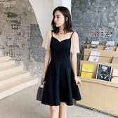 洋裝夏季小個子V領洋氣連身裙法式復古赫本風釘珠網紗拼接小黑裙 快速出貨
