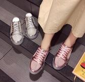 帆布半拖 女鞋春夏新款繫帶水鑚網紅水晶平底網面潮 - 雙十二交換禮物