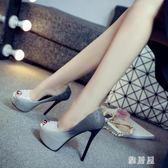 恨天高 14cm超高跟細跟魚嘴單鞋漸變色銀色婚鞋金色夜店高跟鞋恨天高女鞋 LN5535 【雅居屋】