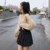夏季時尚休閑套裝bf風刺繡星星薄款防曬衣 內搭兩件套 條紋短褲女雪紡「輕時光」