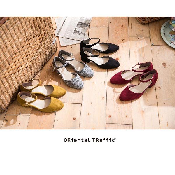 【ORiental TRaffic】經典優雅絨面瑪麗珍鞋-復古酒紅