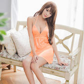 粉橘深V柔緞面高腰綁脖睡衣 性感內衣 居家服內《SV8173》快樂生活網