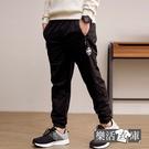 簡約皇冠束口內磨毛休閒運動長褲(黑色)● 樂活衣庫【W-03】