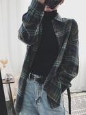 格紋襯衫  格子襯衫女設計感小眾上衣秋季新款韓版寬鬆復古港味長袖襯衣 摩可美家