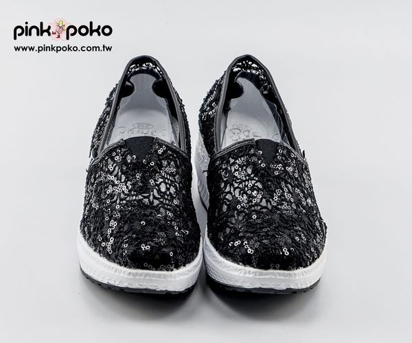 休閒鞋☆PINKPOKO粉紅波可☆蕾絲縷空厚底休閒鞋/包鞋/平底鞋~2色#1344