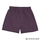 【GIORDANO】男裝高品味沈穩條紋配色四角褲(90紅X藍)
