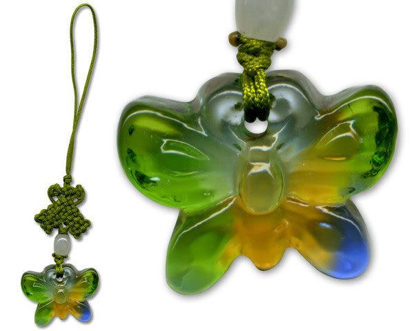 鹿港窯~居家開運水晶琉璃手機吊飾~蝴蝶 ◆附精美包裝