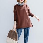 純色抓絨加厚衛衣新款秋冬文藝顯瘦中長款寬鬆打底高領上衣女