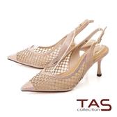 TAS 質感水鑽異材質拼接尖頭高跟鞋-質感膚