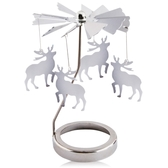 歐沛媞 歐式旋轉燭罩蠟燭台-銀-經典小鹿 加贈YANKEE CANDLE 香氛蠟燭49g