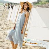 Queen Shop【01084095】民俗感幾何圖形細肩長洋裝*預購*