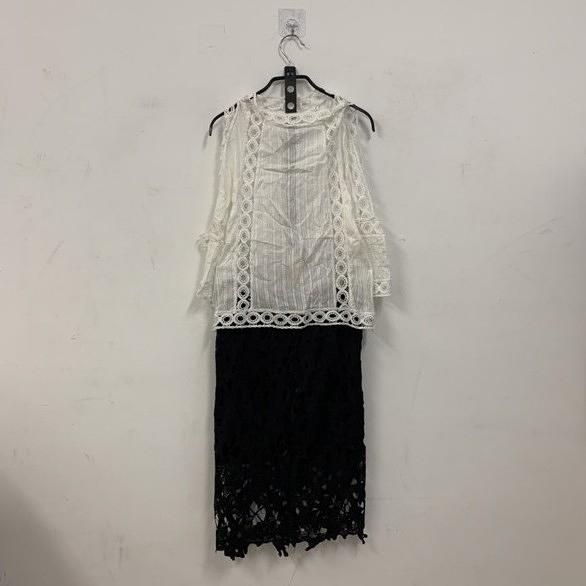 新款氣質蕾絲露肩上衣性感包臀短裙兩件式套裝(L號/777-7742)