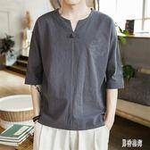 棉麻上衣 亞麻V領短袖T恤夏薄款中國風純色體恤潮流寬鬆半袖男裝 BT523『男神港灣』