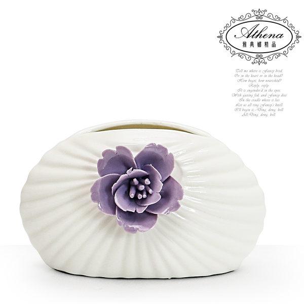 【雅典娜家飾】紫藍花貝殼紋小型陶瓷花器-FB357