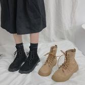 韓版ins網紅英倫學院原宿街拍厚底機車chic馬丁短靴女夏復古絨面