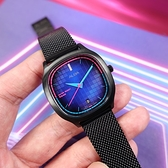ALBA / VJ32-X312SD.AG8L09X1 / 東京霓虹 方型跳色潮流 日期 米蘭編織不鏽鋼手錶 鍍黑 34mm