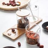 全館83折創意玻璃調味罐日式調味盒瓶調料罐盒瓶鹽罐三件套裝廚房用品