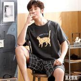男士睡衣夏季薄款短袖純棉青年學生個性潮搞怪家居服套裝 DJ11938『麗人雅苑』