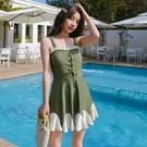 特惠連身泳裝 游泳衣女2021新款遮肚顯瘦仙女范性感les連體保守韓國ins溫泉泳裝