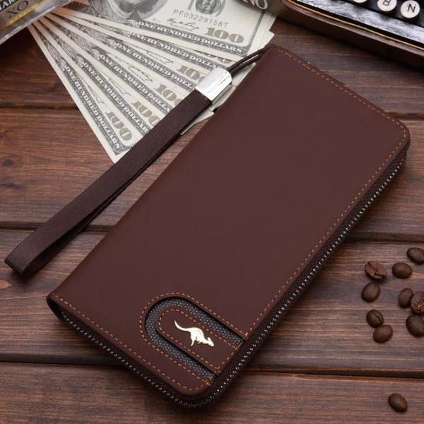 德利袋鼠錢包男長款可放手機男土手包多功能大容量青年帶拉錬皮夾科炫數位