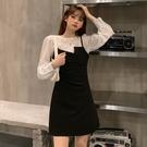 兩件式裙裝 秋季2020新款女裝褶皺長袖襯衫收腰不規則吊帶洋裝氣質兩件套裝-米蘭街頭