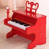 兒童電子琴女孩鋼琴玩具小孩琴初學插電帶麥克風寶寶1-3-6歲 QG2385【艾菲爾女王】