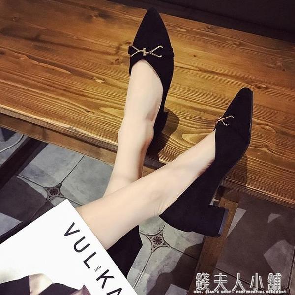 新款秋鞋百搭潮鞋淺口單鞋女中跟粗跟網紅仙女晚晚鞋奶奶鞋女 錢夫人小鋪