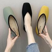 低跟鞋2020春夏新款一腳蹬低跟淺口懶人單鞋女方頭豆豆鞋百搭針織奶奶鞋 衣間迷你屋