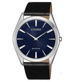 日本CITIZEN 星辰Eco-Drive  簡約三針時超薄款皮帶腕錶  AR3070-04L 藍X黑
