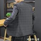 男士小西裝修身外套韓版休閒英倫風條紋西服單西上衣秋季帥氣潮流「時尚彩紅屋」