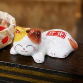 【貓粉選物】微笑小花貓療癒小擺飾筷架紙鎮筆枕小花貓平安白色招財貓高2CM 桌上開運擺飾