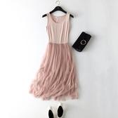 吊帶網紗洋裝 寬鬆內搭長裙彈力大碼蕾絲背心連身裙女 超值價