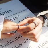 戒指 S925純銀情侶戒指男女一對刻字學生日韓百搭簡約活口幾何對戒指環         酷動3C