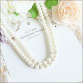 奢華水鑽珍珠雙鍊式百搭項鍊~美之札