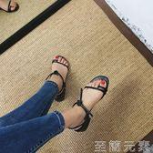 韓國綁帶粗跟中跟羅馬低跟夾趾百搭涼鞋露趾簡約交叉綁帶高跟鞋女 至簡元素