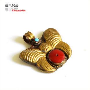 黃銅鑲紅珊瑚石吊墜